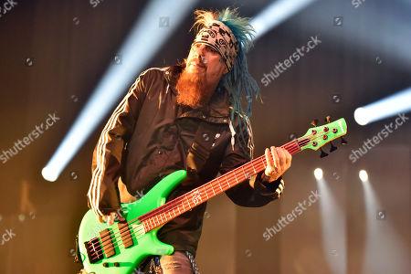 """Reginald """"Fieldy"""" Arvizu of Korn performs at BMO Harris Bank Center, in Rockford, Ill"""