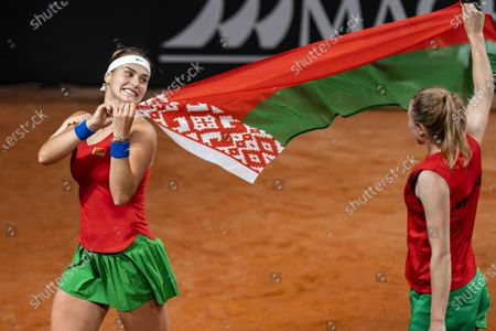 Aryna Sabalenka and Aljaksandra Sasnovitsj from Belarus celebrate winning against Dutch Kiki Bertens and Demi Schuurs in the decisive doubles match of their Fed Cup qualifier tie in The Hague, Netherlands, 08 Februaury 2020.