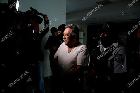 Raul Mijango, recognized for being the main mediator in a truce that the gangs agreed between 2012 and 2014, and that was supported by the Government of former President Mauricio Funes (2009-2014), arrives for a hearing in San Salvador, El Salvador, 07 February 2020. A peace court in El Salvador set up the initial hearing against several political leaders, including the mayor of the capital, Ernesto Muyshondt, for allegedly negotiating political favors with gangs. In addition to Muyshondt, former Minister of Interior Aristides Valencia and former Minister of Security Benito Lara face hearings.