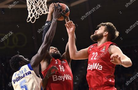 Valencia's Maurice Ndour (L-R), Munich's Greg Monroe and Munich's Danilo Barthel in action during the Euroleague basketball match between Bayern Munich and Valencia Basket in Munich, Germany, 07 February 2020.