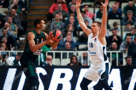 Wesley Johnson of Panathinaikos in action with Vladislav Trushkin of Zenit during the Basketball Euroleague match between Panathinaikos and Zenit St. Petersburg at the OAKA Stadium in Athens, Greece, 07 February 2020.