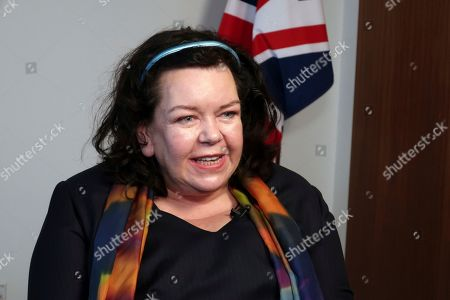 Karen Pierce listens to questions from the media in New York on . Britain has appointed Pierce as the country's new ambassador to the United States. Pierce is currently ambassador to the United Nations and will be the first woman to hold the prestigious job