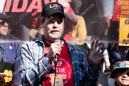 US actor Rainn Wilson participates in the Fire Drill Friday climate change rally at downtown City Hall Los Angeles, California, USA, 07 February 2020.