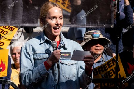 US model and actress Amber Valletta participates in the Fire Drill Friday climate change rally at downtown City Hall Los Angeles, California, USA, 07 February 2020.