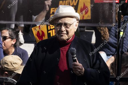 US television writer Norman Lear participates in the Fire Drill Friday climate change rally at downtown City Hall Los Angeles, California, USA, 07 February 2020.
