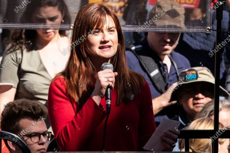 British actress Bonnie Wright participates in the Fire Drill Friday climate change rally at downtown City Hall Los Angeles, California, USA, 07 February 2020.