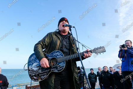 Mike Peters MBE of 'The Alarm' holds a gig at the end of the pier