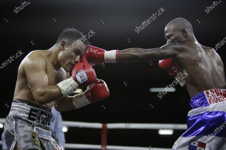 Daniel Matellon (R) of Cuba in action against Erik Lopez (L) of Mexico for the World Boxing Association (WBA) light flyweight title during the WBA KO to Drugs international boxing festival at the Roberto Duran Arena  in Panama City, Panama, 07 February 2020.