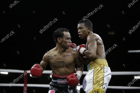 Luis Concepcion (L) of Panama in action against Rober Barrera (R) of Colombia for the World Boxing Association (WBA) interim flyweight title during the WBA KO to Drugs international boxing festival at the Roberto Duran Arena  in Panama City, Panama, 07 February 2020.