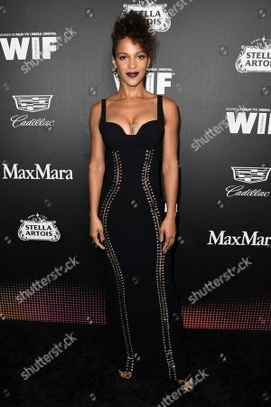 Megalyn Echikunwoke attends the 13th Annual Women In Film Female Oscar Nominees Party at Sunset Room Hollywood, in Los Angeles