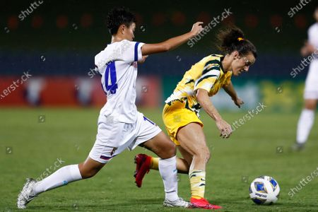 Stock Photo of Hayley Raso (R) of the Matildas competes with Yu-Chieh Lan (L) of Chinese Taipei during the Round 3 match of the AFC Women's Olympic Qualifying Tournament between Chinese Taipei and Australia at Campbelltown Stadium in Sydney, Australia, 07 February 2020.