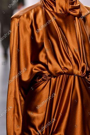 Model on the catwalk, dress detail
