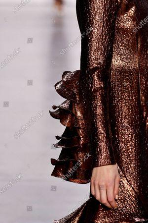 Model on the catwalk, sleeve detail