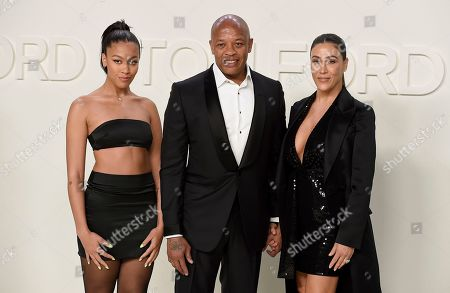 Truly Young, Dr. Dre, Nicole Young. From left, Truly Young, Dr. Dre, and Nicole Young attend the Tom Ford show at Milk Studios during NYFW Fall/Winter 2020, in Los Angeles