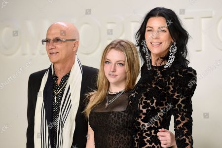 Stock Picture of Jimmy Iovine, Skyla Sanders, Liberty Ross. Jimmy Iovine, Skyla Sanders, and Liberty Ross attend the Tom Ford show at Milk Studios during NYFW Fall/Winter 2020, in Los Angeles