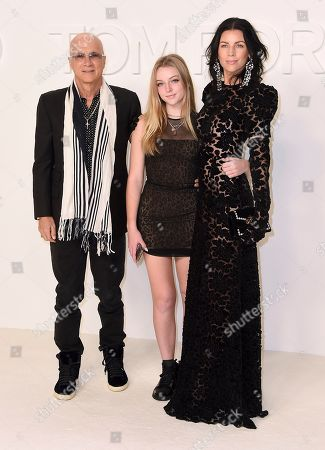 Stock Photo of Jimmy Iovine, Skyla Sanders, Liberty Ross. Jimmy Iovine, Skyla Sanders, and Liberty Ross attend the Tom Ford show at Milk Studios during NYFW Fall/Winter 2020, in Los Angeles