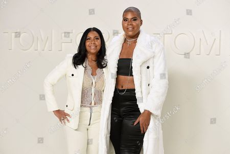 EJ Johnson, Cookie Johnson. Cookie Johnson and EJ Johnson attend the Tom Ford show at Milk Studios during NYFW Fall/Winter 2020, in Los Angeles