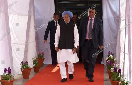 Stock Image of Former Indian Prime Minister Manmohan Singh after casting his vote at a polling station during Delhi State Assembly elections in New Delhi, India, 08 February 2020. More than 14 million voters are eligible to vote in the Legislative Assembly elections, for 70 legislative assembly seats, involving 672 candidates in Delhi. Ballots are to be counted on 11 February and results will be declared the same day.