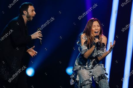 Stock Picture of Swedish winner of the Eurovision Song Contest 2015, Mans Zelmerloew (L), and Eurovision 2016 runner up Dami Im from Australia perform a duet at the 2020 Eurovision - Australia Decides final at the Gold Coast Convention and Exhibition Centre on the Gold Coast, Queensland, Australia, 08 February 2020. The Eurovision Song Contest (ESC) 2020, the 65th edition of the event, is held from 12 to 16 May 2020 in the city of Rotterdam, The Netherlands. Australia, where the ESC is very popular since 1974, sent its first participant for the ESC's 60th jubilee event in 2015.