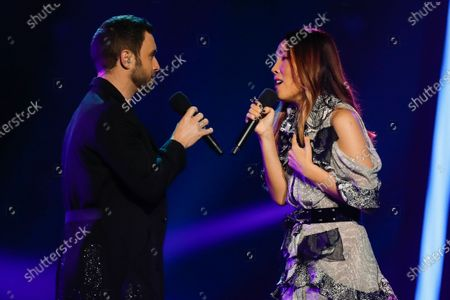 Swedish winner of the Eurovision Song Contest 2015, Mans Zelmerloew (L), and Eurovision 2016 runner up Dami Im from Australia perform a duet at the 2020 Eurovision - Australia Decides final at the Gold Coast Convention and Exhibition Centre on the Gold Coast, Queensland, Australia, 08 February 2020. The Eurovision Song Contest (ESC) 2020, the 65th edition of the event, is held from 12 to 16 May 2020 in the city of Rotterdam, The Netherlands. Australia, where the ESC is very popular since 1974, sent its first participant for the ESC's 60th jubilee event in 2015.