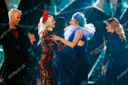 Last years winner Kate Miller-Heidke (2-L) and other contestants congratulate Australian singer Montaigne (2-R) who won the  2020 Eurovision - Australia Decides final at the Gold Coast Convention and Exhibition Centre on the Gold Coast, Queensland, Australia, 08 February 2020. The Eurovision Song Contest (ESC) 2020, the 65th edition of the event, is held from 12 to 16 May 2020 in the city of Rotterdam, The Netherlands. Australia, where the ESC is very popular since 1974, sent its first participant for the ESC's 60th jubilee event in 2015.