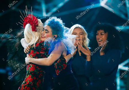 Last years winner Kate Miller-Heidke (L) congratulates Australian singer Montaigne (2-L) who won the  2020 Eurovision - Australia Decides final at the Gold Coast Convention and Exhibition Centre on the Gold Coast, Queensland, Australia, 08 February 2020. The Eurovision Song Contest (ESC) 2020, the 65th edition of the event, is held from 12 to 16 May 2020 in the city of Rotterdam, The Netherlands. Australia, where the ESC is very popular since 1974, sent its first participant for the ESC's 60th jubilee event in 2015.