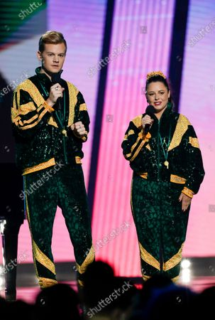 Stock Image of Hosts Joel Creasey (L) and Myf Warhurst speak during the 2020 Eurovision - Australia Decides final at the Gold Coast Convention and Exhibition Centre on the Gold Coast, Queensland, Australia, 08 February 2020. The Eurovision Song Contest (ESC) 2020, the 65th edition of the event, is held from 12 to 16 May 2020 in the city of Rotterdam, The Netherlands. Australia, where the ESC is very popular since 1974, sent its first participant for the ESC's 60th jubilee event in 2015.