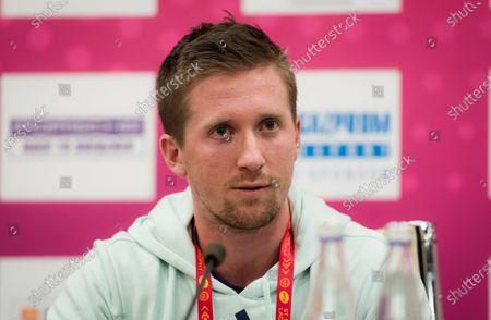 Tom Hill, coach of Maria Sakkari, talks to the media at the 2020 St. Petersburg Ladies Trophy WTA Premier tennis tournament.