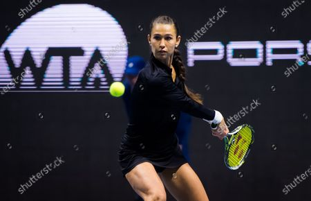 Vitalia Diatchenko of Russia in action during qualifications at the 2020 St. Petersburg Ladies Trophy WTA Premier tennis tournament.