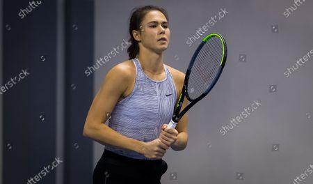 Natalia Vikhlyantseva of Russia practices at the 2020 St. Petersburg Ladies Trophy WTA Premier tennis tournament.