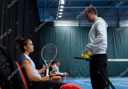 Maria Sakkari of Greece with coach Tom Hill during practice at the 2020 St. Petersburg Ladies Trophy WTA Premier tennis tournament.