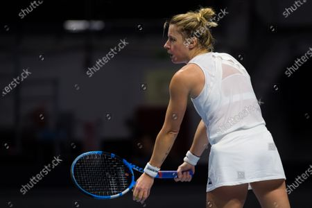 Pauline Parmentier of France in action during qualifications at the 2020 St. Petersburg Ladies Trophy WTA Premier tennis tournament.