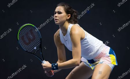 Natalia Vikhlyantseva of Russia in action during qualifications at the 2020 St. Petersburg Ladies Trophy WTA Premier tennis tournament.