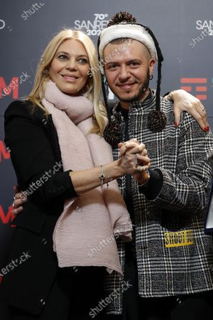 Italian singer Marco Sentieri (R) poses with Italian host Eleonora Daniele (L) during a photocall at the 70th Sanremo Italian Song Festival, Sanremo, Italy, 08 February 2020. The festival runs from 04 to 08 February.