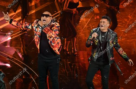 Members of Cuban band Gente De Zona, Alexander Delgado (L) and Randy Malcom Martinez (R) perform on stage at the Ariston theatre during the 70th Sanremo Italian Song Festival, in Sanremo, Italy, 08 February 2020. The festival runs from 04 to 08 February.