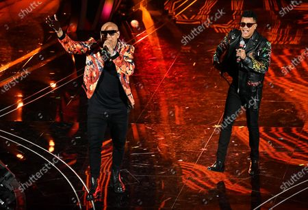 Stock Picture of Members of Cuban band Gente De Zona, Alexander Delgado (L) and Randy Malcom Martinez (R) perform on stage at the Ariston theatre during the 70th Sanremo Italian Song Festival, Sanremo, Italy, 08 February 2020. The festival runs from 04 to 08 February.