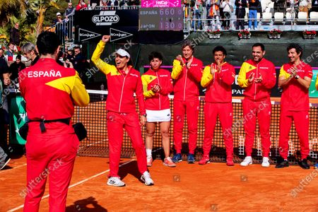 Spanish Fed Cup team captain Anabel Medina (2-L) and players celebrate after winning the Fed Cup playoff tie between Spain and Japan at La Manga tennis club in Atamaria, near Cartagena, southeastern Spain, 08 February 2020.