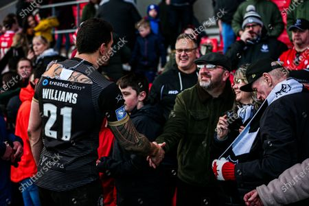 Toronto's Sonny-Bill Williams with fans after the game.
