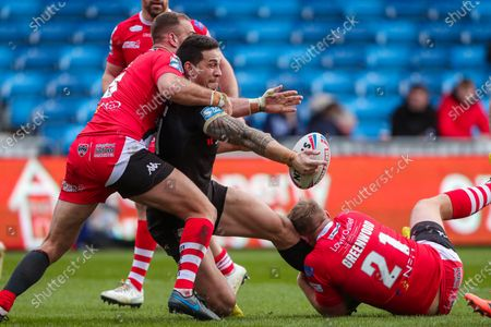Toronto's Sonny-Bill Williams Toronto's Salford's James Greenwood and Lee Mossop.