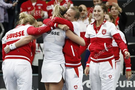 Switzerland's Jil Teichmann (C) celebrates with teammates Timea Bacsinszky,Viktorija Golubic, Belinda Bencic and Stefanie Voegele, from left, after winning her match against Canada's Gabriela Dabrowski at the Fed Cup qualifier between Switzerland and Canada in the Swiss Tennis Arena in Biel, Switzerland, 08 February 2020.