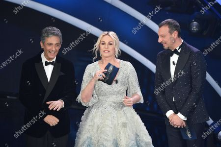 Stock Picture of Fiorello, Antonella Clerici and Amadeus