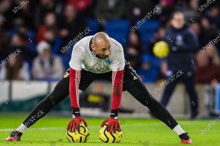 Stock Image of Heurelho Gomes (GK) (Watford) warming up ahead of the Premier League match between Brighton and Hove Albion and Watford at the American Express Community Stadium, Brighton and Hove
