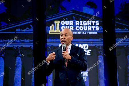 """Democratic presidential candidate former Massachusetts Gov. Deval Patrick speaks at """"Our Rights, Our Courts"""" forum New Hampshire Technical Institute's Concord Community College, in Concord, N.H"""