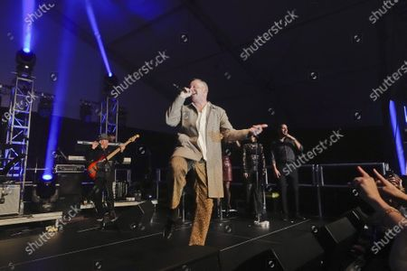 Stock Image of Macklemore performsat the half time Volunteer party on the second day of the AT&T Pro-Am PGA Golf event at Pebble Beach