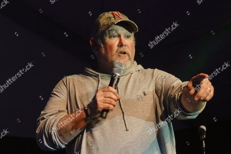 ' Larry the Cable Guy ' tells jokes at the half time Volunteer party on the second day of the AT&T Pro-Am PGA Golf event at Pebble Beach
