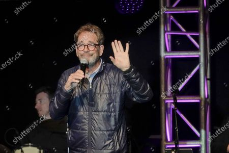 Huey Lewis tells jokes instead of singing at the half time Volunteer party on the second day of the AT&T Pro-Am PGA Golf event at Pebble Beach
