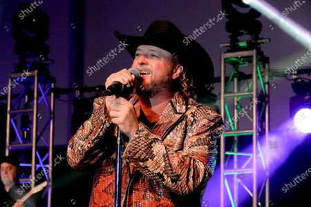 Country singing star Colt Ford performs at the half time Volunteer party on the second day of the AT&T Pro-Am PGA Golf event at Pebble Beach