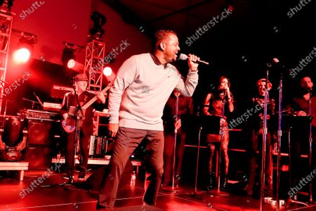 Alfonso Ribeiro performs 'Billie Jean' at the half time Volunteer party on the second day of the AT&T Pro-Am PGA Golf event at Pebble Beach