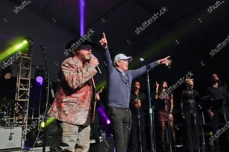 Stock Photo of Clay Walker, country and western star, performs with Colt Ford at the half time Volunteer party on the second day of the AT&T Pro-Am PGA Golf event at Pebble Beach