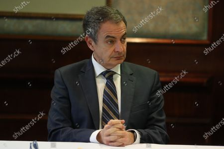 Former Spanish Prime Minister Jose Luis Rodriguez Zapatero attends a meeting with Minister of Communication of Venezuela, Jorge Rodriguez, Vice President, Delcy Rodriguez, and members of the opposition Timoteo Zambrano and Javier Bertucci, in Caracas, Venezuela, 08 February 2020. Zapatero met on 07 February with Venezuelan president, Nicolas Maduro, at Miraflores Palace.